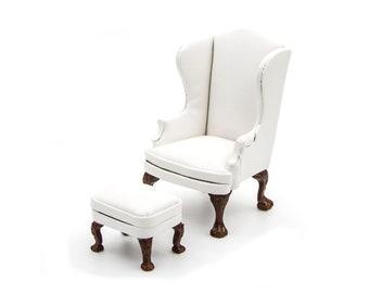 Miniature white leather armchair Antique Dollhouse