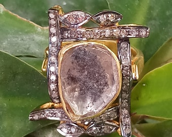 Woman Jewelry Genuine Polki Diamond Ring Victorian Ring 925 Sterling Silver Handmade Victorian Ring woman Gift Jewelry