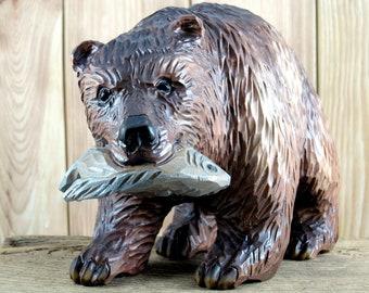Phil Craft Teakwood Wood Carved Sculpture Bear Teak Wood anthropomorphic Fishing figurine Kodiak brown black