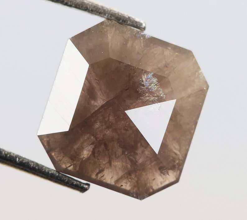 Fancy Antique Diamond Jewelry 7.9 X 7.5 X 2.0 MM Square Emerald Shape Brown Pink Color Natural Loose Beautiful Diamond 1.46 Ct R1006