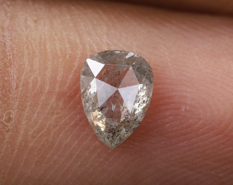 R167 0.53 Ct Fancy Rustic Diamond 6.0 X 4.4 X 2.3 MM Use For Making Jewelry Pear Shape Greenish Color Natural Loose Beautiful Diamond