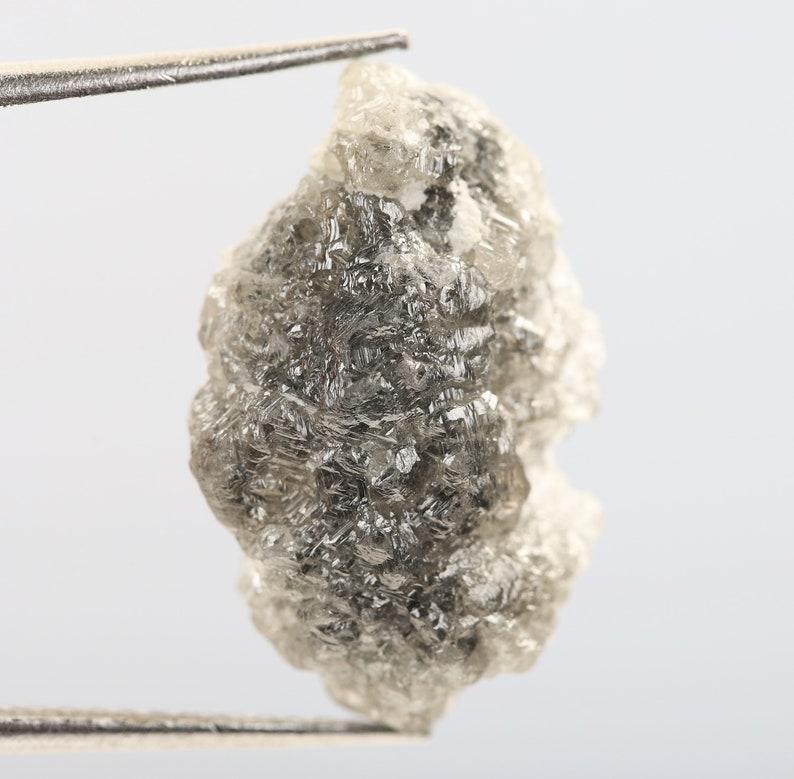 Natural Loose Rough Druzy Diamond 6.01 Ct Birthstone R1331 Conflict Free Diamond 17.7 X 11.0 X 4.2 MM Grey Color Raw Uncut Diamond