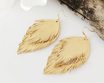 Natural Snakeskin genuine leather and faux leather feather earrings recycled leather jewelry snakeskin earrings boho earrings