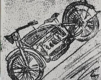 motorbike monoprint, original artwork on paper