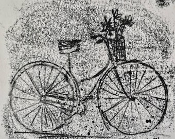 cycling with flowers, mono print