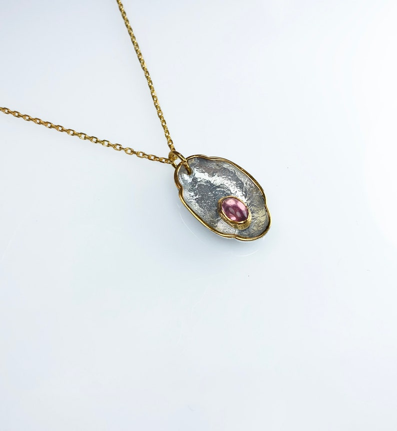 Pink Tourmaline Necklace,925 Sterling Silver Tourmaline  Necklace,Gold Plated Silver Chain,Natural Sstone Necklace,Antique and Handcrafted