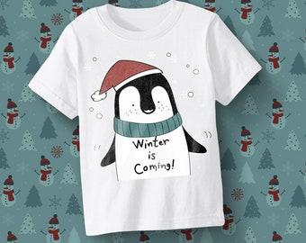 Winter is coming Tee for kids,Christmas Penguin Illustration,Kids Babies Christmas gift,Christmas costume dress,Christmas card decor SALE