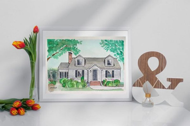 Home portrait. Architectural drawing of your house. Realtor image 0