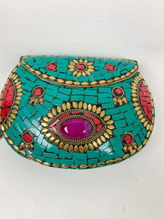 Vintage India Bohemian Mosaic Clutch Bag , Gypsy A
