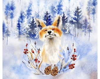 Fabric Panels premium cotton 51 x 51 cm fox in the forest on blue