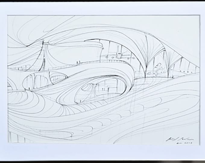 HELIOTROPE. Airport Architectural Sketch, Original Spaces interior Handrawing Ink Art Athmospheres, Framed.