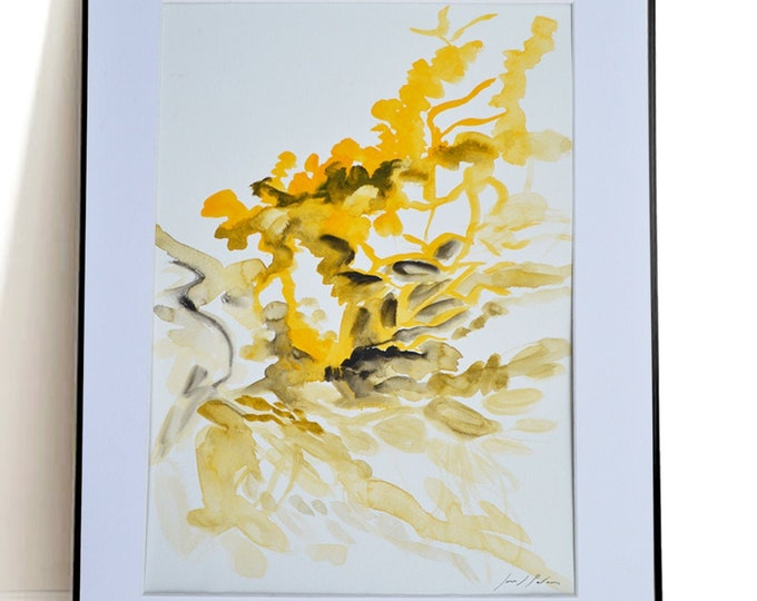 HIPERICUM, Organic Growth of Flower Sensibility, Abstract Flower Handrawing Watercolor, Framed.