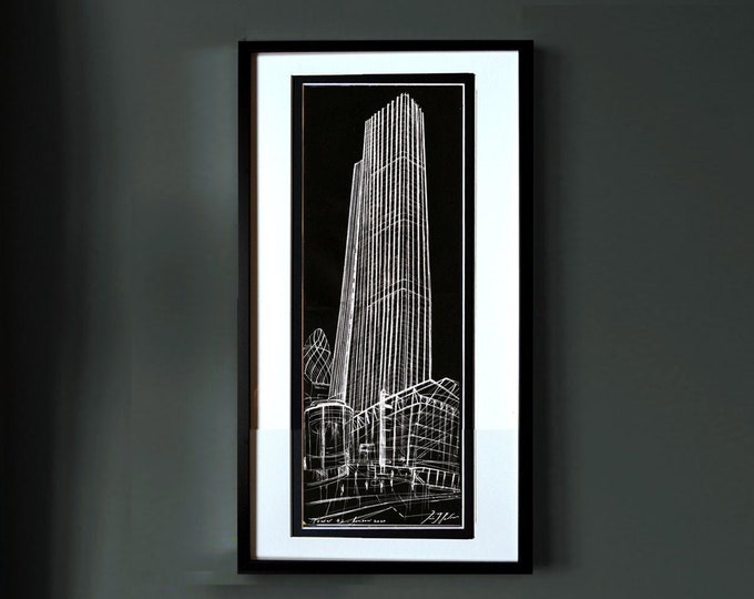 TOWER-42, Original Handrawing Architectural London, Art, Exclusive, Framed