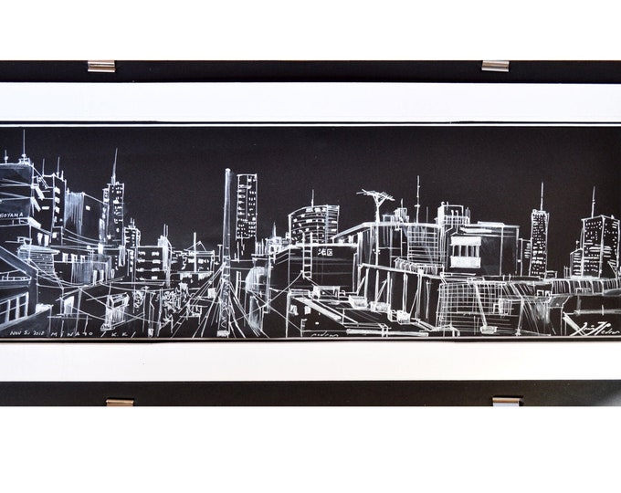 MINATO-KU, 港区, Tokyo Cityscape, Original Architectural Handrawing, Black Sketch Pen & Watercolor, Art Drawing in Japan.