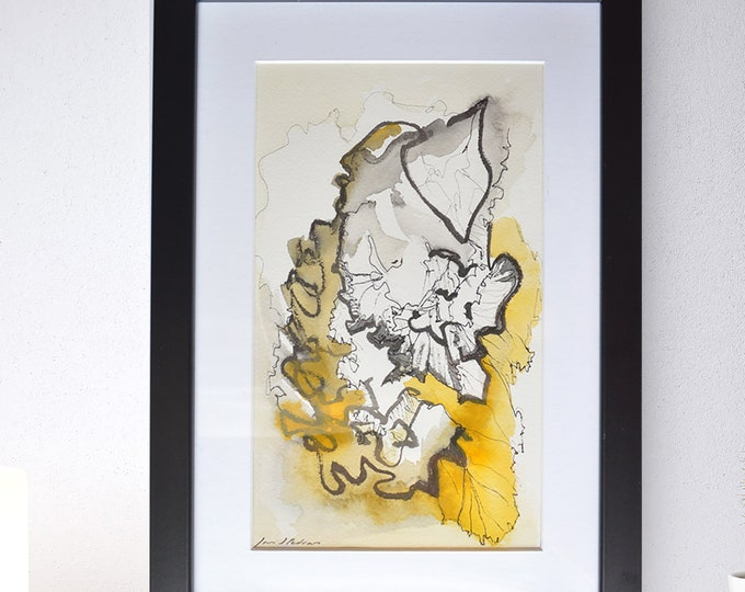 KALMIA, Watercolor Abstraction, Original Shell structures, Oceanic Marine Floral Representation,Framed Art,Warm Landscapes.