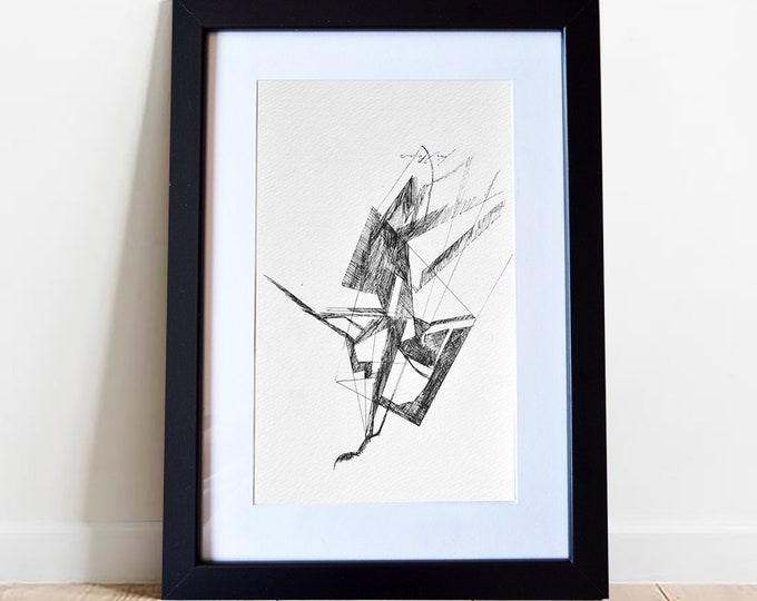 ALLIUM, Original Sculptural Series, Architectural Abstraction Geometrical Pen Freehand Sketch, framed.
