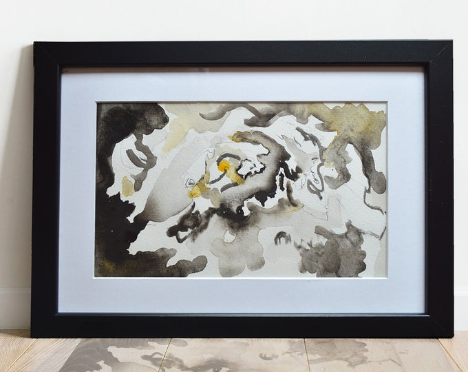 ALYSUMS, Original Marine Fluid Landscapes, Abstration, Handmade watercolor, framed.