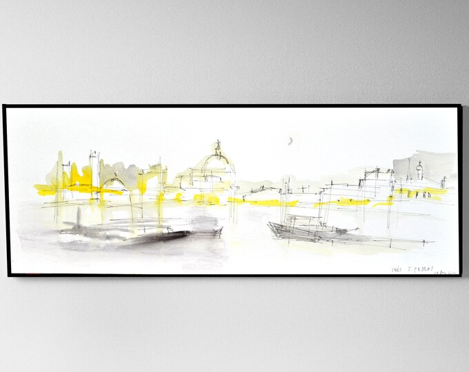 ITALIAN-ROUTE. Handrawing Art, Architectural Sketch, Naval atmposphere, Venice boats. 18 x 38 inches.