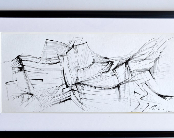 FLYINGTITANIUM. Original, Architectural & Cityscape. Black and White Elegant Handrawing, Museum abstract sketch.