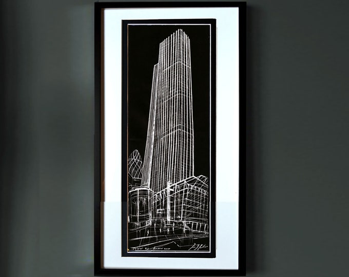 TOWER-42, Original London Handrawing Architectural, Art, Exclusive, Framed