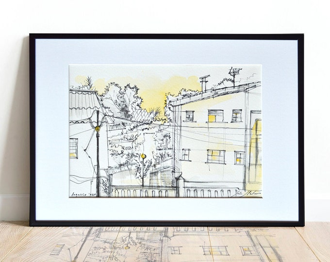 DORNEDA, Galicia, Original Architectural Handrawing, watercolor, framed.