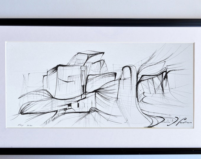 HIAYACINTH, City Architectural sketch, abstraction, Handrawing Museum, framed