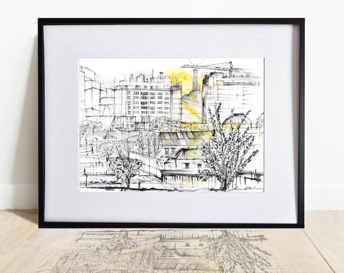 SAN-AMARO, Galicia, Original Architectural Handrawing,Spanish watercolor, framed.