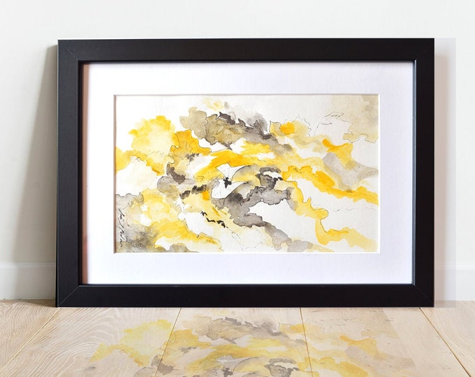 VIBURNUMS, Handmade, Exclusive, Fluid Landscapes, watercolor abstraction, Original, framed.