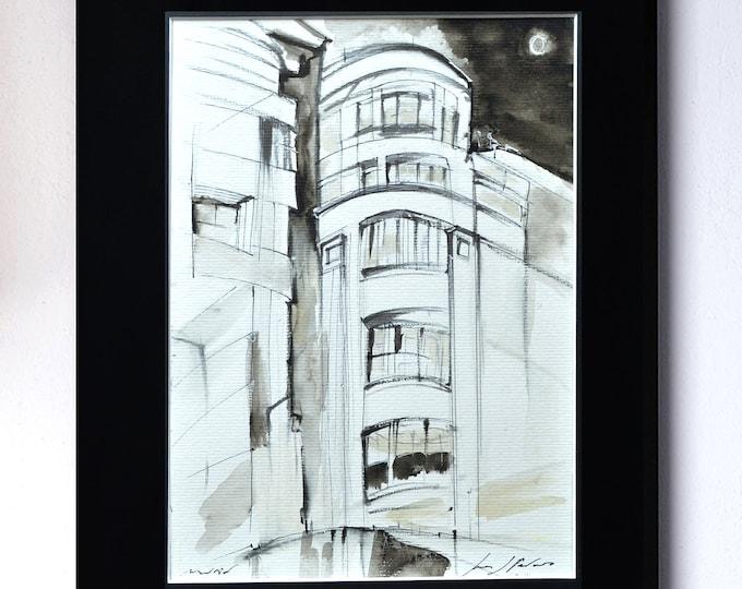 MATESANZ, Original Handrawing, architectural nocturnal sketch in Gran Vía Street, Madrid cityscape, Spain 1923 moonlight,Framed.