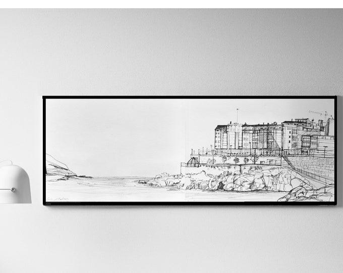 ORZAN_vol 2. Original Galicia Handrawing, Spain,Architectural Sketch, A Coruña Black ink,