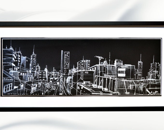 MINATO-KU, 港区, Tokyo Cityscape, Original Architectural Handrawing, Framed Black Sketch Pen & Watercolor, Art Drawing in Japan.
