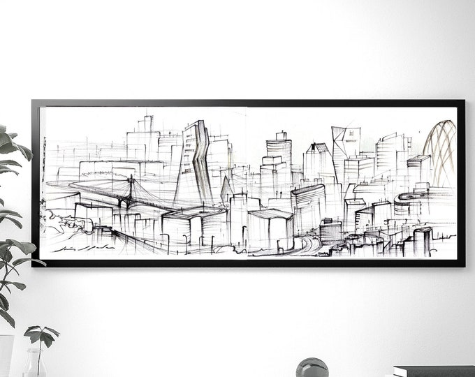 BASIN, City Original, Handrawing, UK ,Architectural Sketch, Abstraction,Black ink, Framed with metalic clips version