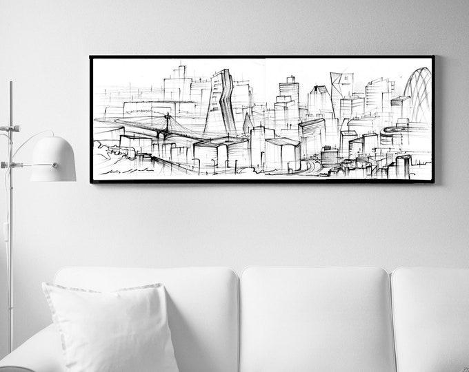 BASIN, City Original, Handrawing, UK ,Architectural Sketch, Abstraction,Black ink, Framed (clips version)