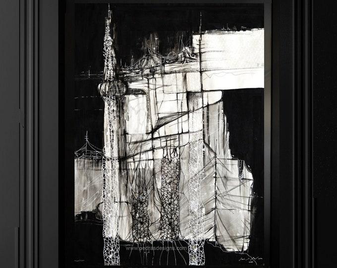 ONEIDA, Utopic city, Abstract Collage, Geometrical scenarios, vertical skycrapers, Original Framed Art.