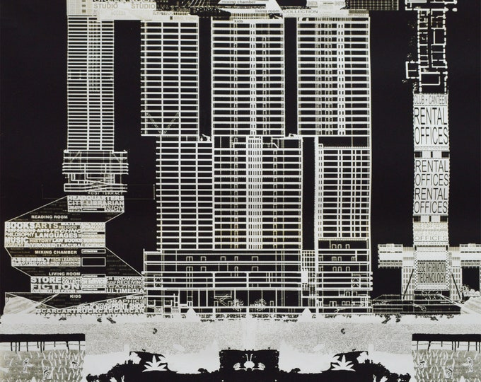 REM. Utopias, Cities and Architecture, Illustration, Radical Urbanism, Skycrapercity. 69.29 x 27.55 inch.