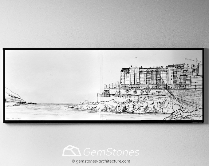 ORZAN. A Coruña, Galicia, Spain, Original Handrawing Black ink, Architectural Sketch, framed-clips.