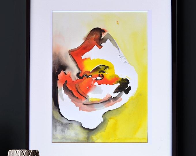 "MUSCARI, Original Shell Abstraction, Vibrant Colors, Watercolor Art Handmade, framed 12 x 16"""