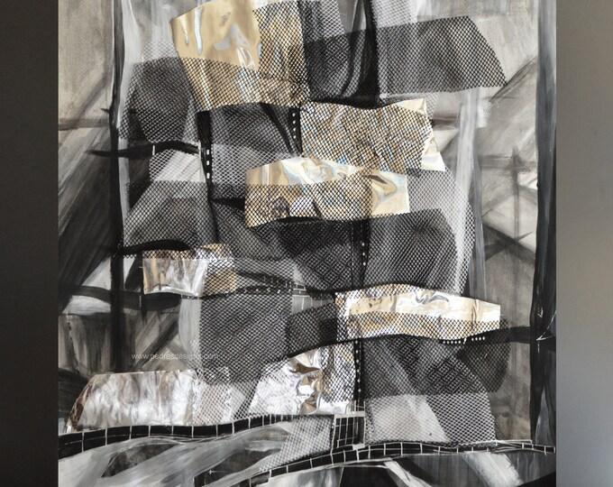WAVEDELIUM, Architectural Geometrical Collage, Original painting,Framed Art, Abstract Art, Modern Volumes Artwork, Black & Silver.