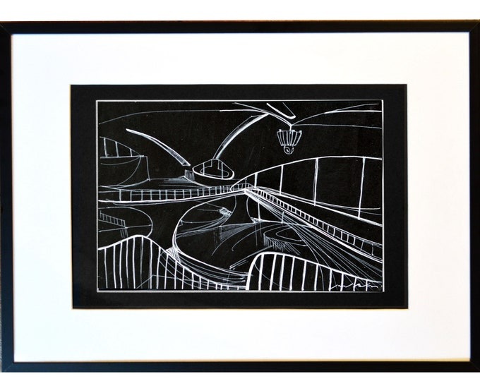 JFK-IN.Original Architectural Sketch, J.F. Kennedy, Handrawing, Free-Hand Ink, Black Drawing framed,12 x 16 inch.