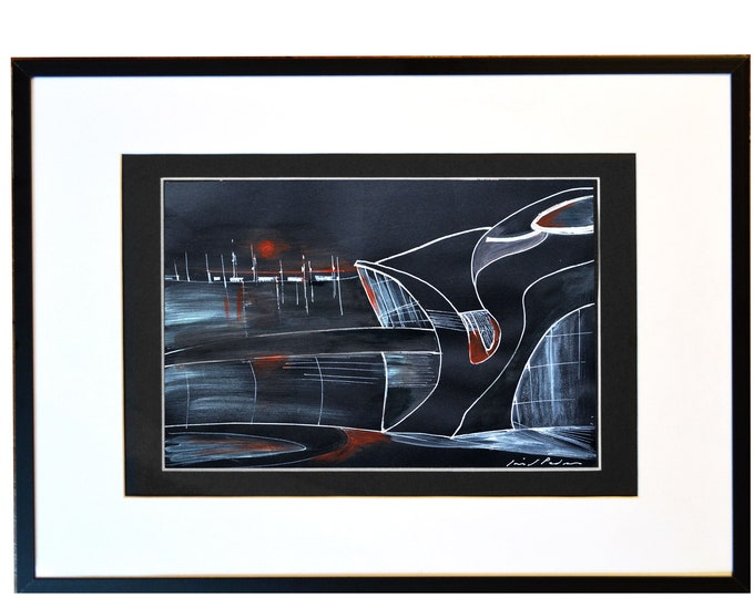 "JOHN 833. Original inspiration from John F. Kennedy Airport, Sunset Handrawing, Architectural sketch Pen & Acrylic, 12 x 16"" framed."