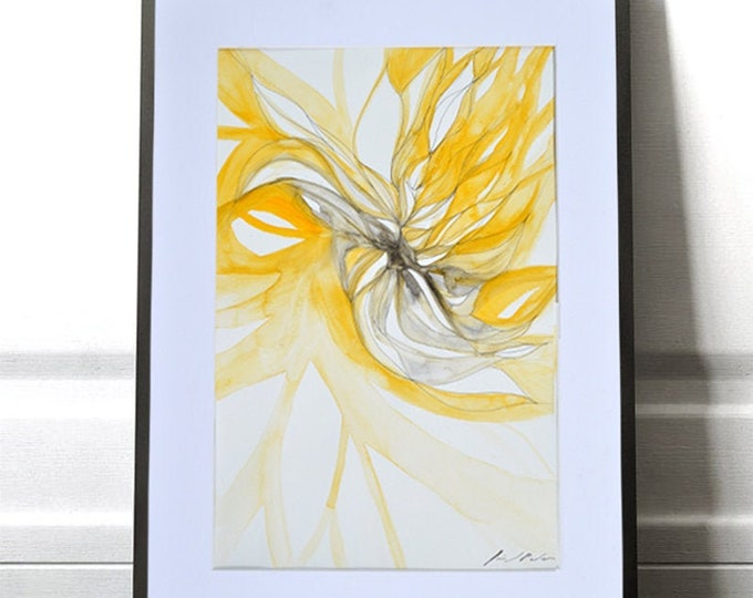 YELLOWHORN, Original, Abstract Watercolor Flower Growing Movement, Framed Handawing Geometrical Nature Inspiration.