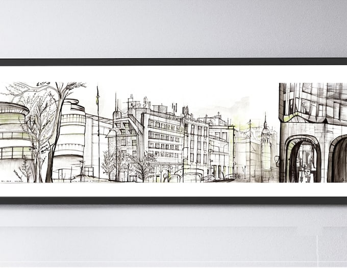 TOWERHILL,London City, Tower Hill Boroughcityscape,Original Architectural Handrawing, Ink Sketch, UK.