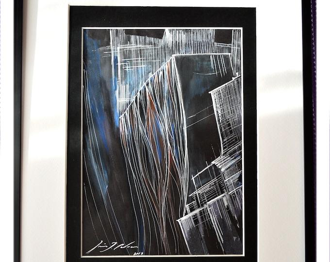 MILLOW. Original,Handrawing Pen Ink,Black & White Framed Art,Sketch Geometrical Watercolor Nature.