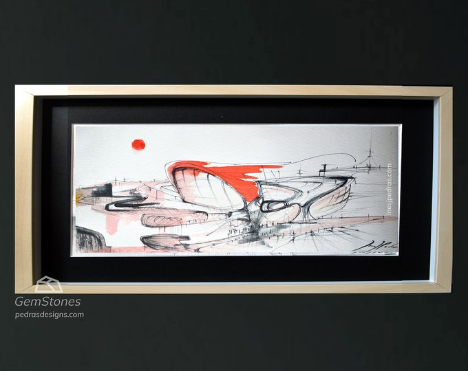 REDTWA, Original Architectural Pen Handrawing, Ink Cityscape, Watercolor painting American Airport - Framed.