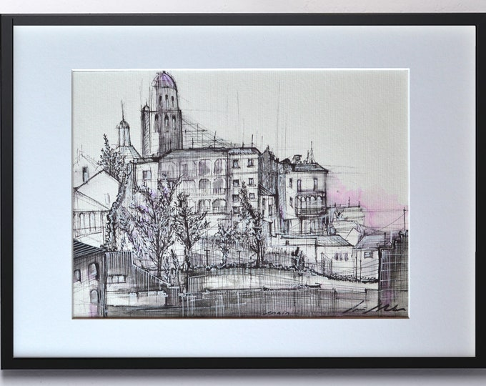 CUENCA, Architectural Handrawing, Spain, Original and Framed, Spanish typical Village.