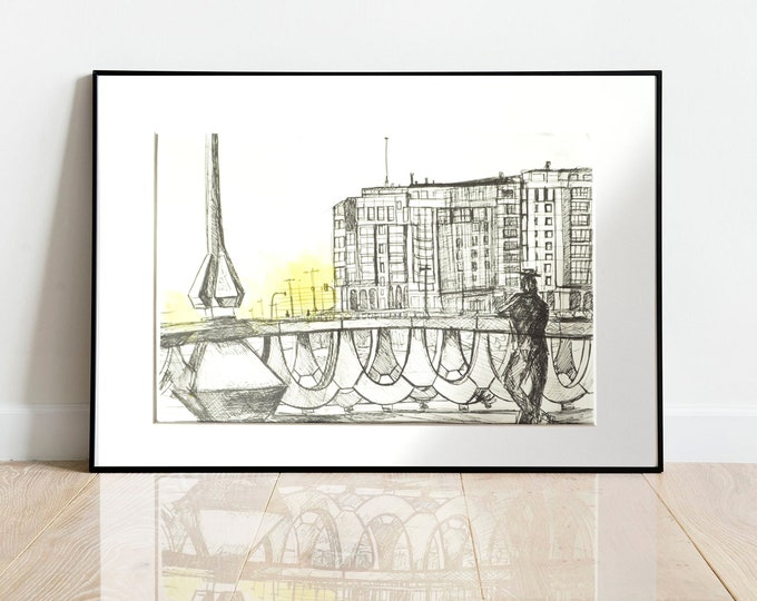 PASEO-MARITIMO. Pen-Ink Cityscape, Framed Art, Handrawing, Architectural SeaFront view. 16 x12 inch
