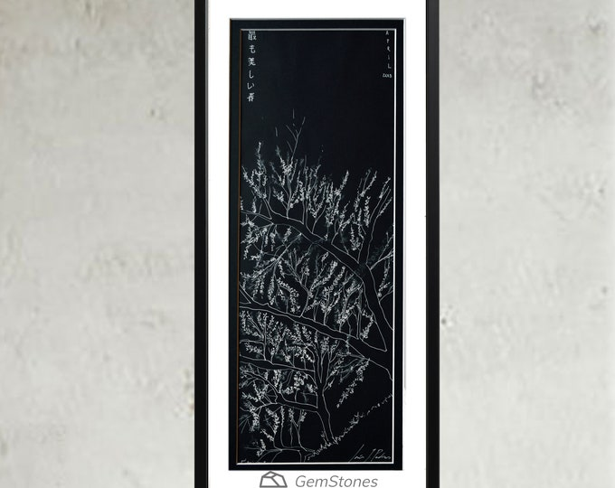 SAKURA. Original Handrawing Japanese Cherry-Blossom tree, Spring starting Tokyo,Framed, ephemeral nature of Life & Art.