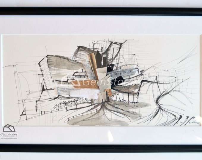 MATERIALIATY, Original, Collage, Architectural Abstraction,museum sketch,recicled materials framed.