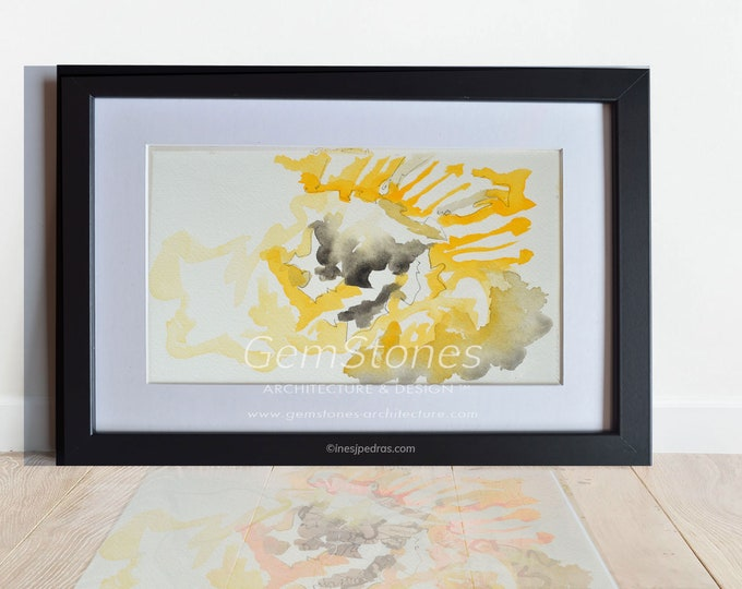 CHRYSANTHEMUM, Original Marine Fluid Landscapes, Abstration, Handmade watercolor, Framed.