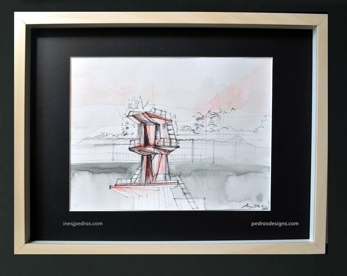 "OMSETI, Architectural Abstraction Original painting - Framed 12 x 16"" / 30 x 40 cm, Madrid, Spain, Handrawing watercolor."